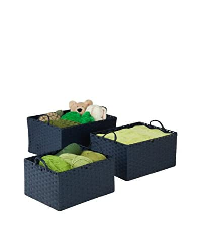 Honey-Can-Do Set of 3 Paper Rope Baskets, Blue