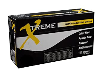 Ammex XNPF Xtreme Blue Nitrile Glove, Latex Free, Disposable, Powder Free