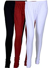 Fashion And Freedom Women's Cotton Leggings Pack Of 3_FFCL_BMW_BLACK-MAROON-WHITE_FREESIZE