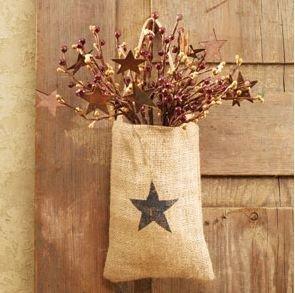 Vintage hanging burlap bag vintage star 4 for Decorative burlap bags
