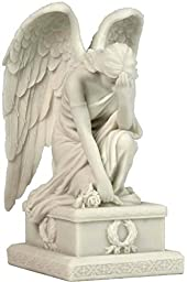 8.5'' Weeping Angel Kneeing with Hand on The Forehead, Marble White by US