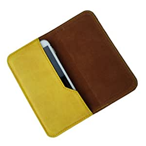 i-KitPit : PU Leather Flip Pouch Case Cover For Lava Iris 300 Style (YELLOW)