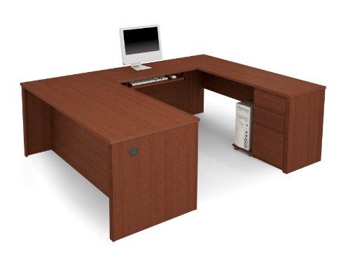 Bestar Prestige U-Shaped Workstation with Single Pedestal - Cognac Cherry