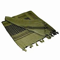 Ultimate Arms Gear Tactical Scarf - Shemagh - Kafiya - Keffiyeh Head Wrap : OD Olive Drab Green / Black 100% Cotton from Ultimate Arms Gear