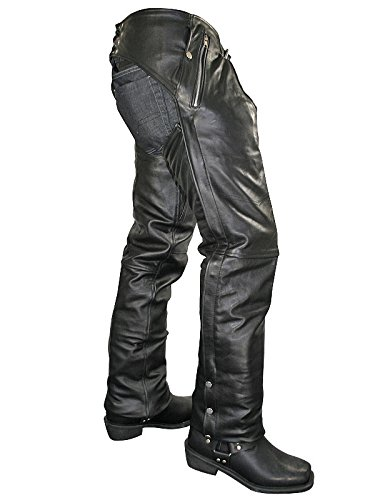 Xelement B7561 Mens Cowhide Leather Motorcycle Chaps with Removable Insulating - 36