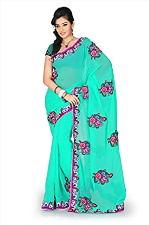 Designersareez Women Faux georgette Embroidered Turquoise Saree with unstitched blouse 1180  available at Amazon for Rs.1953