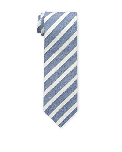 Borrelli Men's Striped Tie, Blue