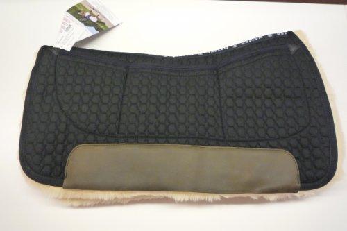Mattes Westernpad Square Pad komplett Lammfell mit Dreitaschen-Correction-System, Stoff: schwarz Größe: Long