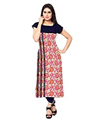 Saiveera Fashion New Arrival Women's Crepe Long Kurtis (VAT152_MultiColoured_Large)