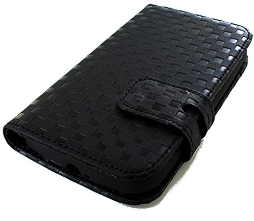 myLife Charcoal Black Checker Print {Luxury Design} Faux Leather (Multipurpose - Card, Cash and ID Holder + Magnetic Closing) Folio Slimfold Wallet for the LG G2 Smartphone (External Textured Synthetic Leather with Magnetic Clip + Internal Secure Snap In Closure Hard Rubberized Bumper Holder)