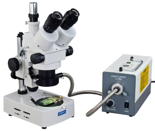 Omax 3.5X-90X Trinocular Table Stand Stereo Microscope With Dual Illumination System And Additional 150W Cold Fiber Ring Light