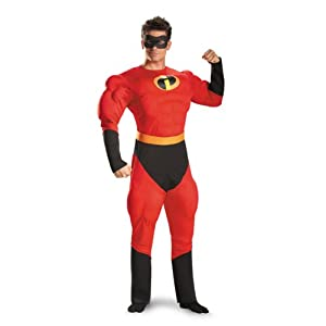 Disguise Unisex Adult Deluxe Muscle Mr Incredible, Multi, X-Large (42-46) Costume