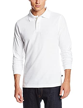 Lee Uniforms Men's Long Sleeve Polo, White, Small