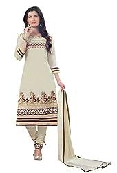 Suchi Fashion Cream Embroidered Cotton Dress Material