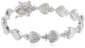 "Sterling Silver Seashell Link Bracelet, 7"""