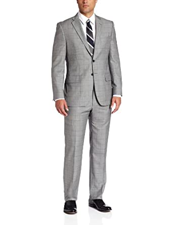 Joseph Abboud Men's Super 150'S Wool Windowpane Suit With Flat Front Pant, Grey, 36 Short