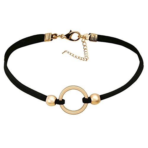 Gnzoe Velvet Moda Vintage Nero Oro Ring Pendant Choker Girocollo per Donna