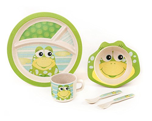 BAMBOO KIDS Meal Set | Plate set | Dinner set by Green Frog Friends, Eco-friendly Bamboo Dishes, feeding Set for toddlers and Little Kids, Boys and Girls, Frog Character (Child Dishes compare prices)
