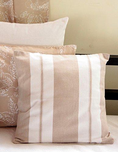 Blue Alcove Hudson Stripes Cushion Cover - Beige and White (SGCC-38)