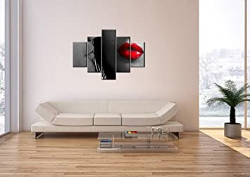 impression sur toile 100x70 cm image sur toile 5 parties encadr e prete a. Black Bedroom Furniture Sets. Home Design Ideas