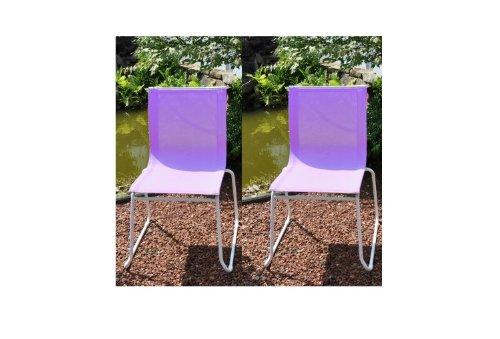 Gartenstuhl / Stapelstuhl Colorline Stahl weiß / Textil flieder jetzt bestellen