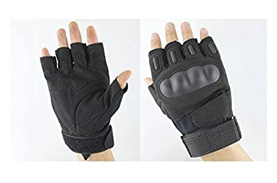 WZYuan 1 Pair Black Outdoor Half-finger Fingerless Tactical Airsoft Hunting Riding Cycling Motorcycle Gloves (Black, XL)