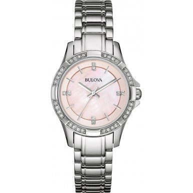 Bulova 96L206 Ladies Crystal Silver Steel Bracelet Watch