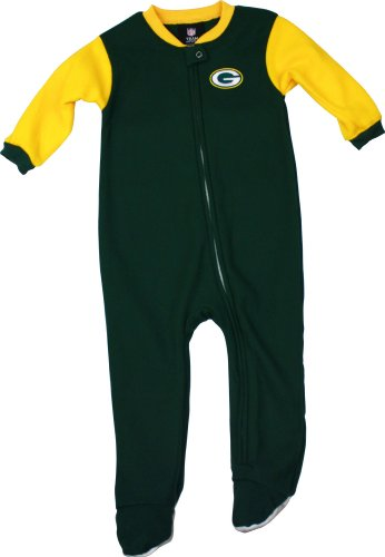 Green Bay Packers Infant Full Zip Blocked Blanket Sleeper, Green/Gold, 24 Months at Amazon.com