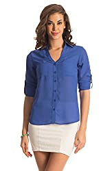 PrettySecrets Women's Button Down Shirt (PSW14BLS03C _Blue_Small)