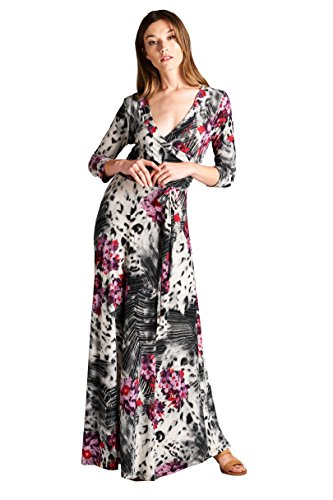 On Trend Women's Paris Bohemian 3/4 Sleeve Long Maxi Dress (X-Large, Black and Magenta)