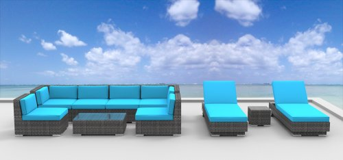 Urban Furnishing - IBIZA 10pc Modern Outdoor Backyard Wicker Rattan Patio Furniture Sofa Sectional Couch Set - Sea Blue picture