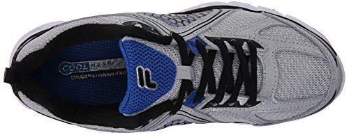 Fila Men's Threshold 3 Running Shoe, Metallic Silver/Black/Prince Blue, 8 M US