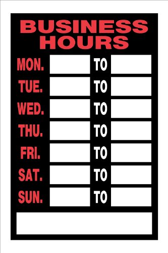 The Hillman Group 839888 8-Inch X 12-Inch Fluorescent Plastic Business Hours Sign