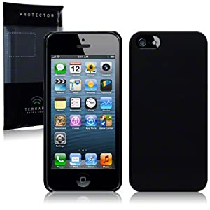 iPhone 5 Hybrid Rubberised Back Cover Case / Shell / Shield - Solid Black