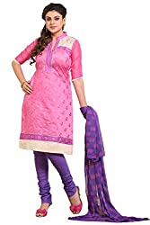 Roohi Pink Cotton Unstitched Dress Material