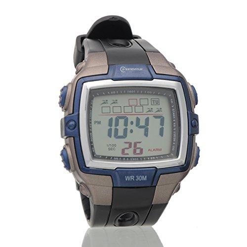 Mingrui Dark Blue Men Digital Led Big Face Sport Alarm Quartz Wrist Watch