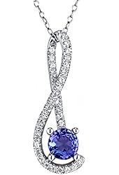0.78 Ct Round Blue Tanzanite White Created Sapphire 925 Sterling Silver Pendant