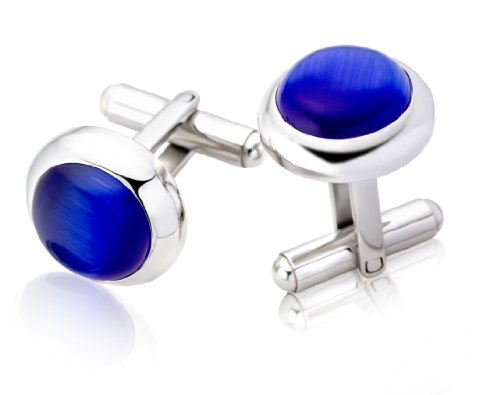 Miore Stainless Steel Round Cufflinks with Blue Cabochon Stone CM018