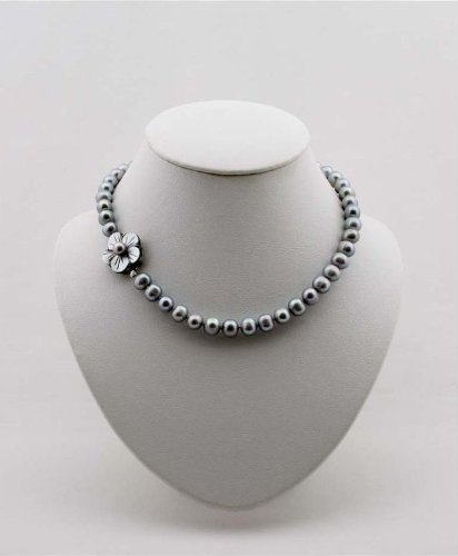 Pearl Necklace Silver Grey 17-Inch Cultured Freshwater Pearls 9-10mm, EE-200
