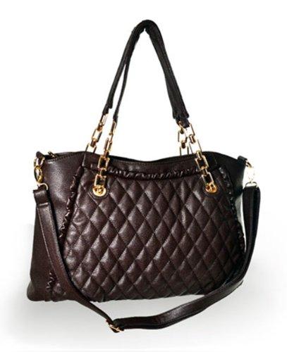 Women'S Brown Tote Top Zip Closure With Chain Strap Handbag F58