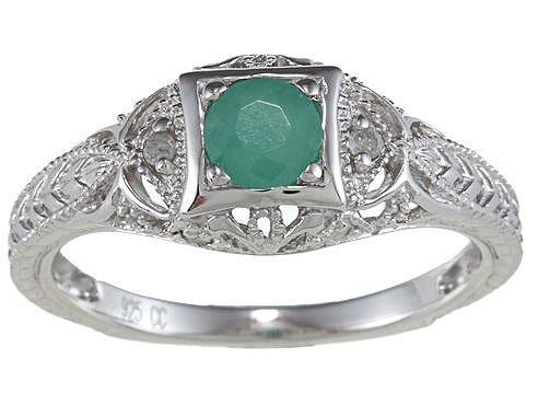 Genuine Emerald Diamond Vintage Style Ring