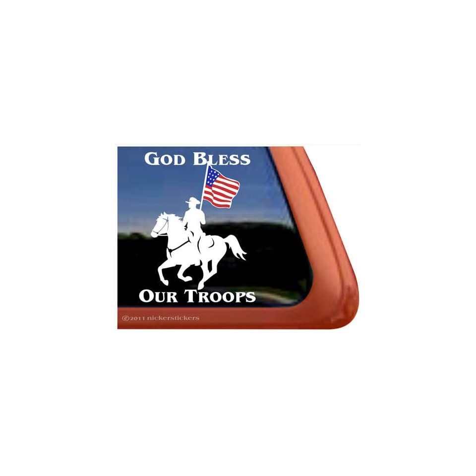 God Bless Our Troops Drill Team Vinyl Window Horse Trailer Decal Sticker