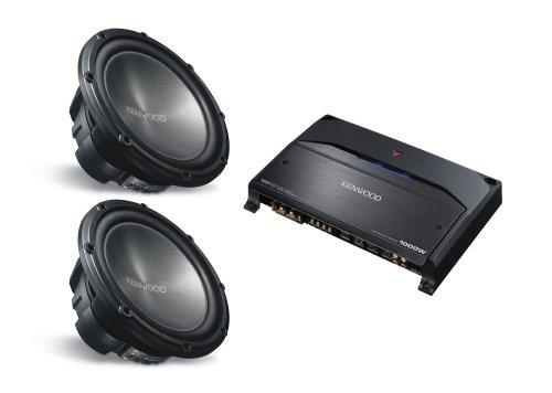 2 KENWOOD KFC-W3012 (12 inch 1200 Watt Subwoofers) & KENWOOD KAC-7205 (2 Channel Amplifier) PACKAGE DEAL