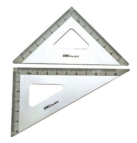 得力(deli) 6216 10cm铝合金三角尺(3个/包)图片