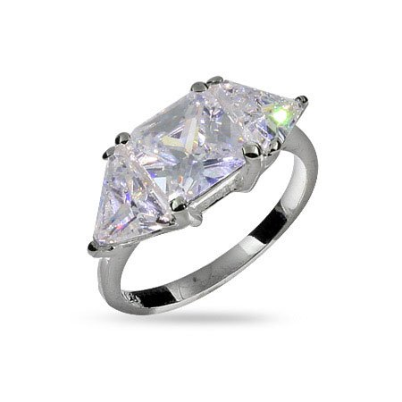 Princess and Triangular Cut CZ Three Stone Promise Ring Size 6 (Sizes 6 7 8 Available)