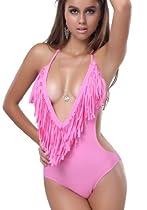 2013 Newest Sexy Monokini One Piece V Neck Bathing Suits Tassel Swimwear Bikini 8 Colors S M L (S, rose  red)