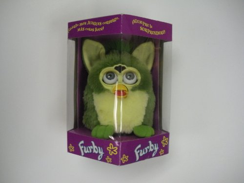 Green Furby with Green Eyes and Feet in Spanish Box