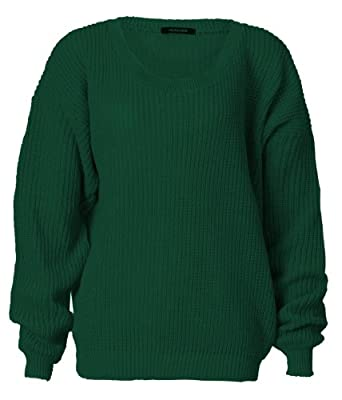 Womens Long Sleeves Knitted Baggy Style Oversize Plain Jumper Sweater (One Size (Fits UK 8-14), Green)