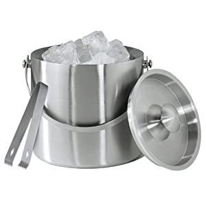 Amco Brushed Stainless Steel Ice Bucket with Tongs
