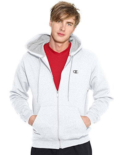 Champion Men's Full-zip Eco Fleece Jacket Hoodie, White, XXX-Large
